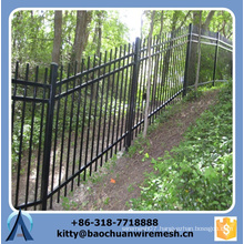 Cheap sloping terrain wrought iron fence panels for sale /galvanized sloping terrain steel fence / Ornamental Fence