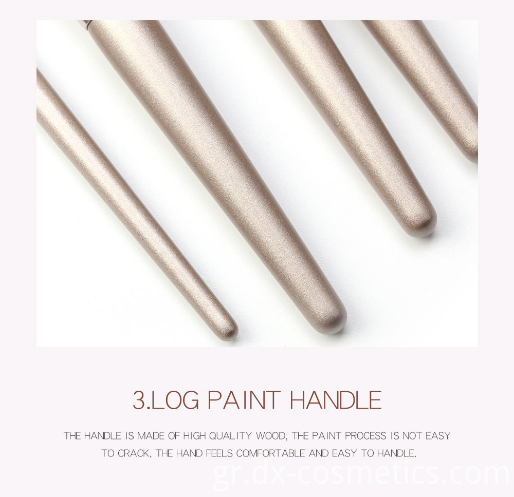 10 Piece Champagne Gold Makeup Brushes wood Handle
