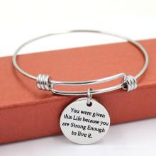 Fashion Engraved Charms Wire Adjustable Metal Bangle Bracelet