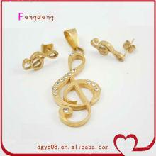 Bom estilo de música banhado a ouro pingente e brinco conjunto de jóias