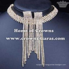 Wholesale Rhinestone Necklace Earrings Jewelry Set
