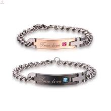 Pedra permanente rosa banhado a ouro 316l aço inoxidável casal bracelete