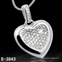 Pendentif en forme de coeur en forme de coeur en argent sterling 925 (B-3843, B-4071, B-3123, B-3675BW, B-4113)