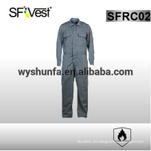 100% algodón trajes manga larga manga de seguridad 100% algodón ropa ignífuga con muchos bolsillos