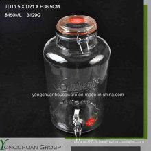 8L Big Clear Cone Glass Jar et couvercle en verre avec / sans plat métallique Clip Jar avec robinet
