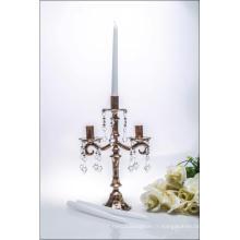 Bronze Porte-bougie en verre à trois affiches pour décoration de mariage