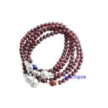 Natural Garnet Beads Bracelet with Silver Charm (BRG0028)