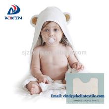 Color blanco de belleza pequeño diseño del ángel toalla de bebé con capucha de algodón 100%