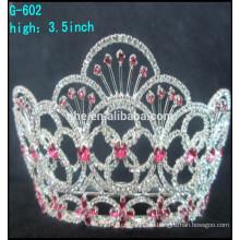 Las tiaras grandes hermosas del desfile del rhinestone al por mayor coronan las coronas de las tiaras