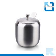 304 Stainless Steel Salt Pepper Sugar Bowl Condiment Bottles with Holder