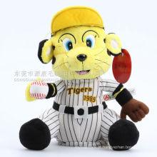 ICTI audits brinquedo do tigre do luxuoso da venda do brinquedo da fábrica de OEM / ODM com chapéu e roupa