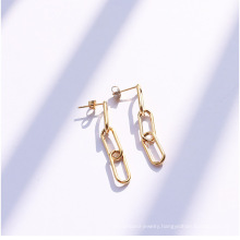 Women Stainless Steel Geometric Big Earrings Shiny Drop Earrings