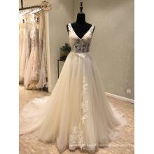 V Шеи Кружева Бисероплетение Вечерние Платья Свадебное Платье