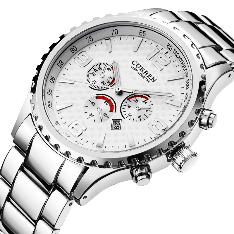 watch bezel insert chronograph quartz watch stainless steel strap