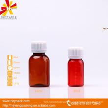 Botella de plástico de 2oz ámbar PET para la medicina