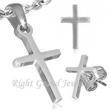 Neue Schmuck Set Halskette Anhänger Ohrstecker Edelstahl Kreuz Schmuck Set