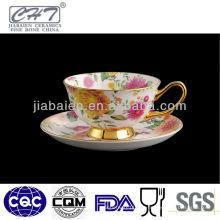 Heißer Verkauf feiner Knochenporzellan-Goldrand-Teecup und -untertasse