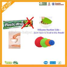 Eco-friendly Silicone Lid Set de 4 / Silicone tampa da tampa do potenciômetro / Silicone Suction Lid Set