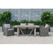 COLLECTION ALAND - Table à manger en rotin en rotin en rotin à la mode à haute résistance à la mode et 6 chaises Mobilier de jardin extérieur