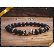 Modeschmuck Lava Armbänder mit Silber Schädel Bestes Geschenk (CB036)