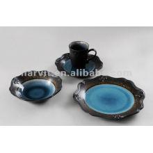 16pcs Embossed and Reactive Turkish Spanish Portuguese Ceramic Dinnerware Corelle Dinnerware