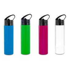 600ml de garrafa de água de silício com tampa de palha Flip, novo design de borracha de água de silicone dobrável, garrafa de água de silicone com classificação de alimentos