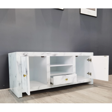 Glass TV cabinet with drawers