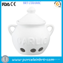 Wholesale Custom White Ceramic Garlic Pot