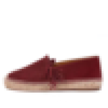 Burgundy flock leather fringe espadrille flats handmade jute rubber sole