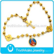 Pulsera de alta calidad chapada en oro Virgen María, pulsera tejida personalizada Virgen María pulsera
