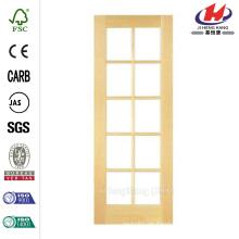 30 in. X 80 in. Glatte 10-Lite Französisch Solid Core Unfertige Kiefer Innen-Tür-Platte