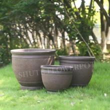 Pots de fleurs de jardin en ciment pour conteneurs de plantes d'extérieur
