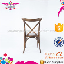 wooden cross back chair without armrest