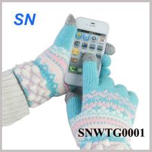 Guantes de tacto de lana de Smartphone de las mujeres calientes de la venta caliente de las mujeres (SNWTG0001)