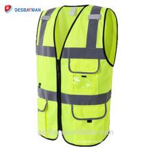 Chalecos de seguridad de malla respirables amarillos de alta calidad Chaleco de alta visibilidad ANSI clase 2 de alta visibilidad con muchos bolsillos