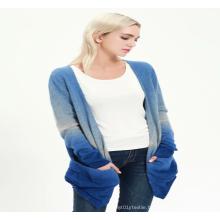 Women Pure Cashmere Dip Dye Cardigan