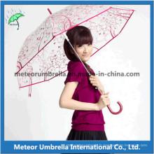 Impression Cadeau promotionnel Straight Plastic Flower Transparent Clear PVC Umbrella