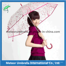 Printing Promotional Gift Straight Plastic Flower Transparent Clear PVC Umbrella