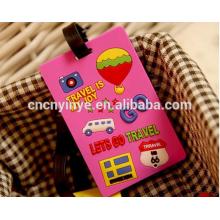 Étiquette de bagage personnalisée 3D caoutchouc souple pvc / caoutchouc bag tag / étiquette à bagage en pvc