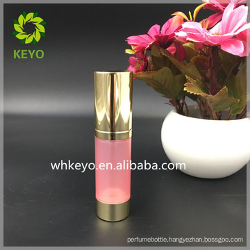 15ml small AS plastic Airless pump bottle pink bottle shiny gold cap cosmetic bottle for packing