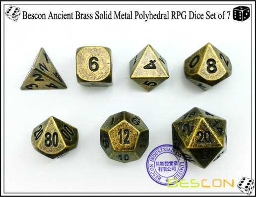 Bescon Ancient Brass Solid Metal Polyhedral RPG Dice Set of 7-3