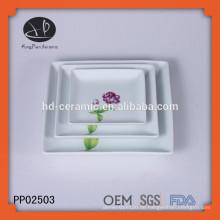 Keramik quadratisch geformte Teller mit Abziehbild, Ladegerät Platte für zu Hause