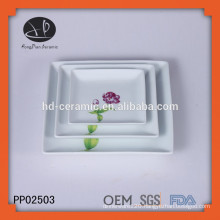ceramic square shaped dinner plate with decal,charger plate for home