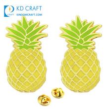 Free sample bulk cheap custom metal cartoon fruit shaped enamel souvenir pineapple lapel pins badge for promotion