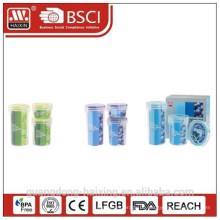 3pcs Set Runde Kunststoff-Lebensmittel-Vorratsbehälter