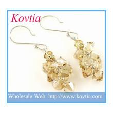 A prata QUENTE da forma da jóia do cristal do citrine da VENDA brinca a jóia de traje italiana do brinco