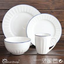 Hot Sale 16PCS Embossed White Porcelain Dinner Set