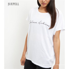 Weißes Druck-Sport-Frauen-T-Shirt