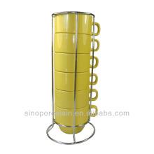 Cerámica Stacked taza de café Set 6pcs para BS140122F