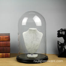 D25*H40cm Glass Dome With MDF Wooden Base